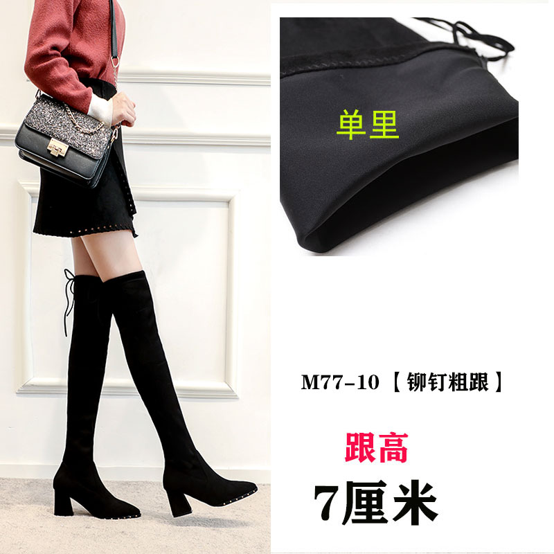 BLACK-M77-10-[SINGLE] THICK HEEL-RIVET-7CM