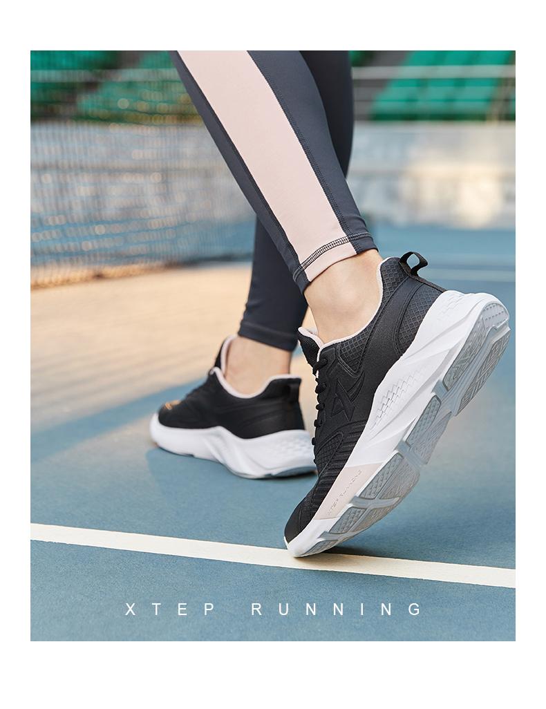 特步女鞋春季皮面跑步鞋减震轻便运动鞋跑鞋软底休閒鞋妈妈鞋详细照片