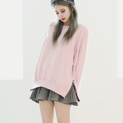 Autumn and winter new plus velvet loose pink sweater women's headdress long sleeve side fork Korean sweater coat tide
