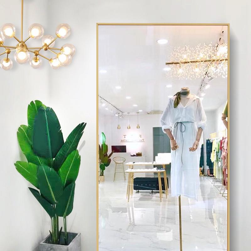 Cửa hàng quần áo thay đồ gương nhôm hợp kim giảm béo kéo dài toàn thân sàn gương phù hợp gương treo tường gương - Gương