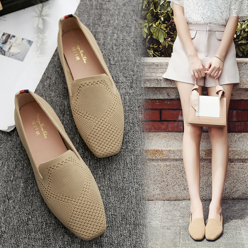 Flying woven flat shoes women s head Carrefour shoes spring and autumn  breathable soft bottom braided flat 56fed51825f9