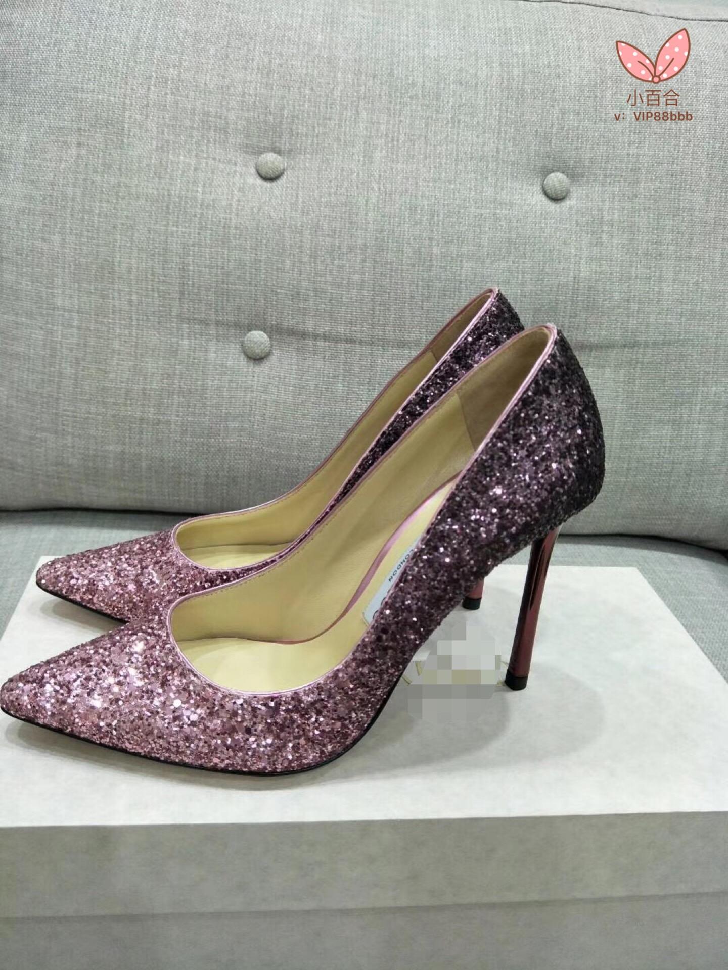 香港代购JC明星同款高跟鞋渐v明星婚鞋平底尖头女鞋细跟亮片单鞋