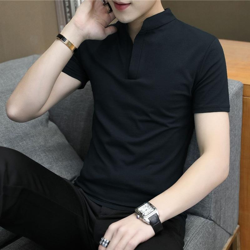 男装短袖T恤有领子短衫纯黑色男士休闲翻领夏装立领男衫体土