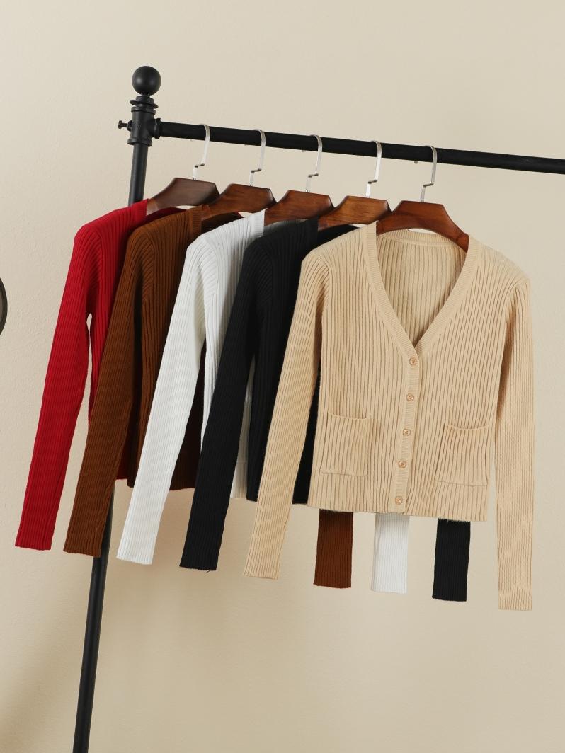 Nhỏ tươi chic đầu mùa thu áo len cardigan nữ cao eo áo len ngắn dài tay áo v-cổ áo sơ mi áo khoác mỏng
