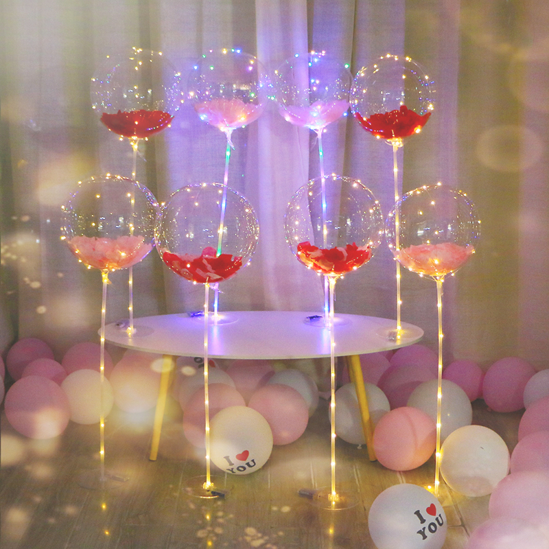Glowing wave ball column creative birthday party Valentine's Day proposed to whitewave balloon wedding room decoration bracket