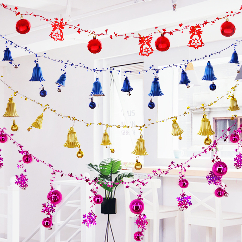 The hanging ceiling of the Christmas decorations 綵 ball bell string Yeezy tree pendant shopping mall shop window scene hanging ornaments
