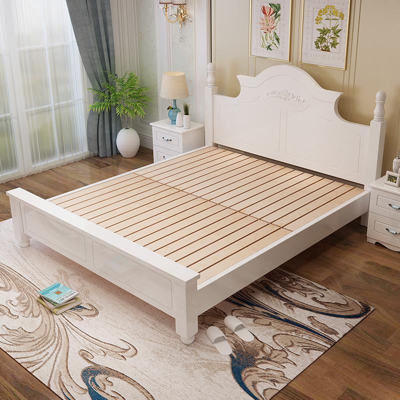 歐式實木雙人床1.8米簡約現代白色公主床1.5米女孩單人床1.2m主臥