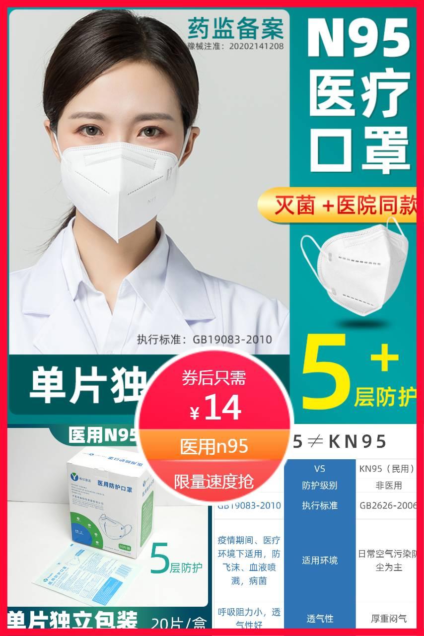 【医用】防护口罩n95独立包装20只
