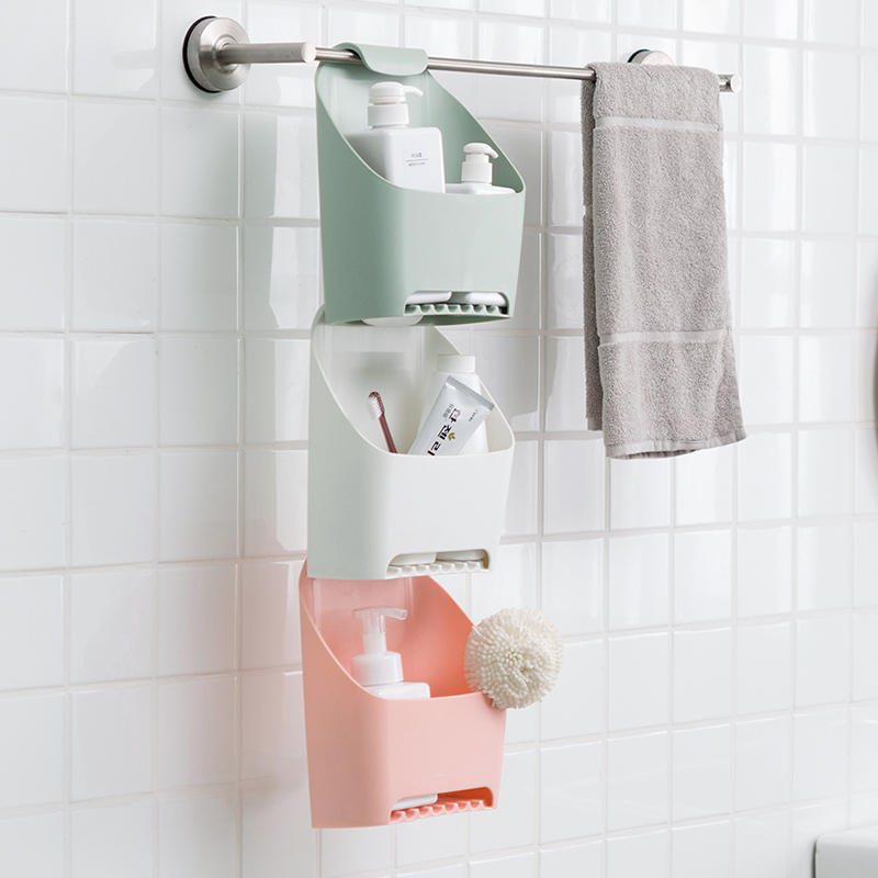 可悬挂浴室收纳盒 带挂钩沥水置物架 卫生间免打孔储物架毛巾挂
