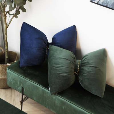 Nordic minimalist Dutch velvet velvet embroidered bow pillow sofa waist pillow bed pillow car cushion pillow