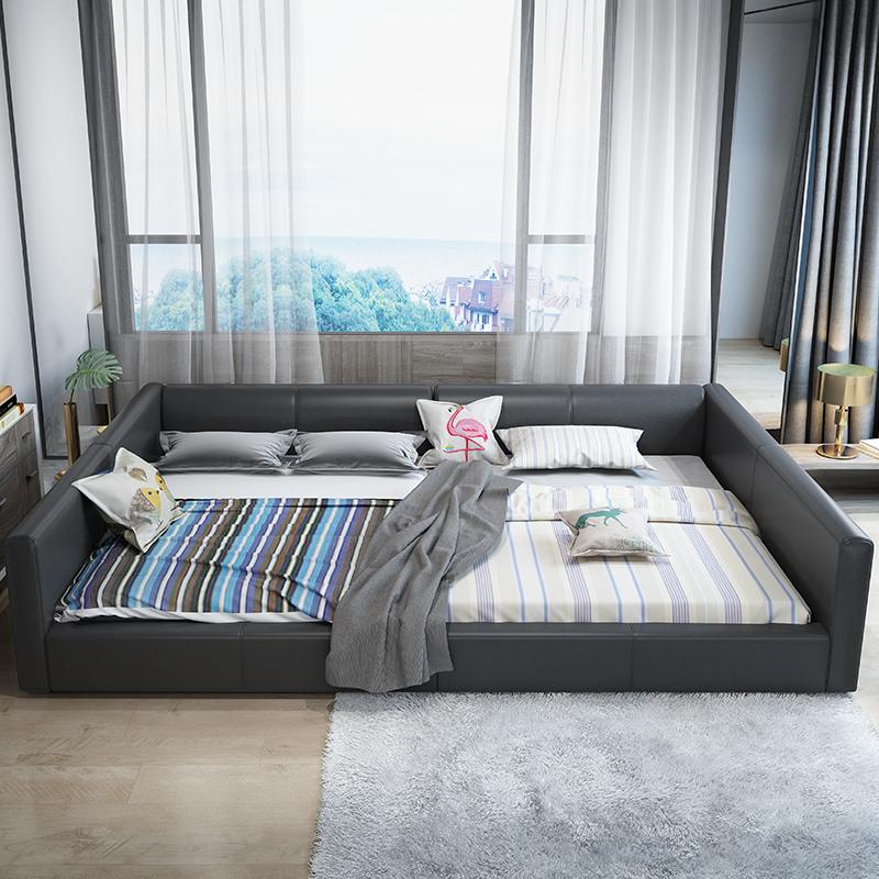 現代簡約真皮床大小戶型皮床雙人床榻榻米2.2米高圍欄主臥大床