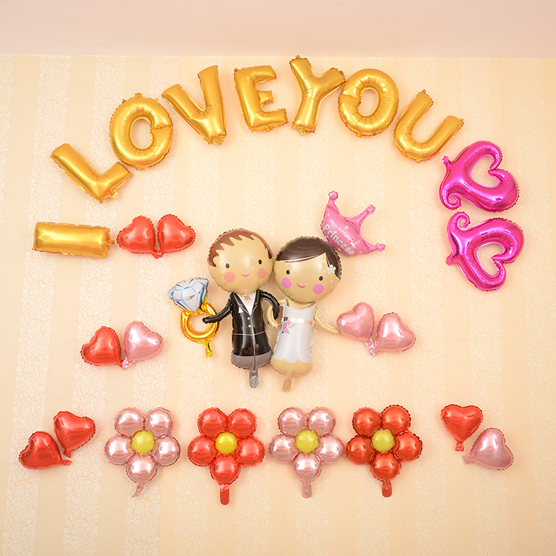 Usd 548 wedding supplies aluminum foil wedding decoration birthday years paragraph hold hands iloveu for you love do not complete section 5201314 confession balloons i love you wedding suit classic a lifetime love junglespirit Images