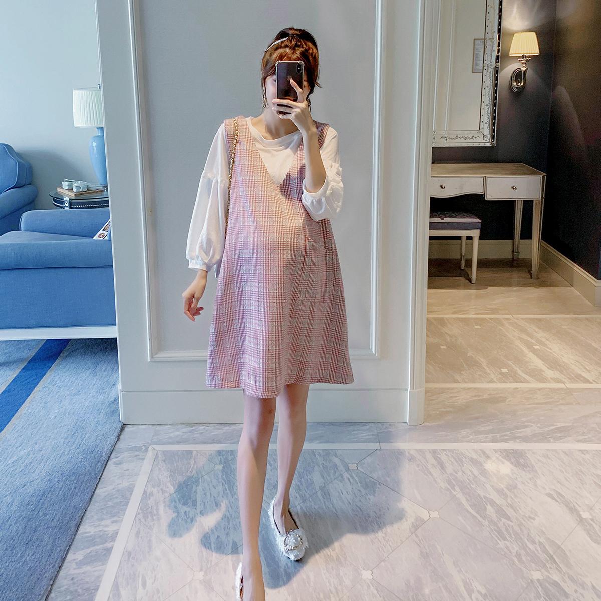 孕妇秋冬季装时尚小香风套装新款宽松小个子韩版潮妈两件套连衣裙