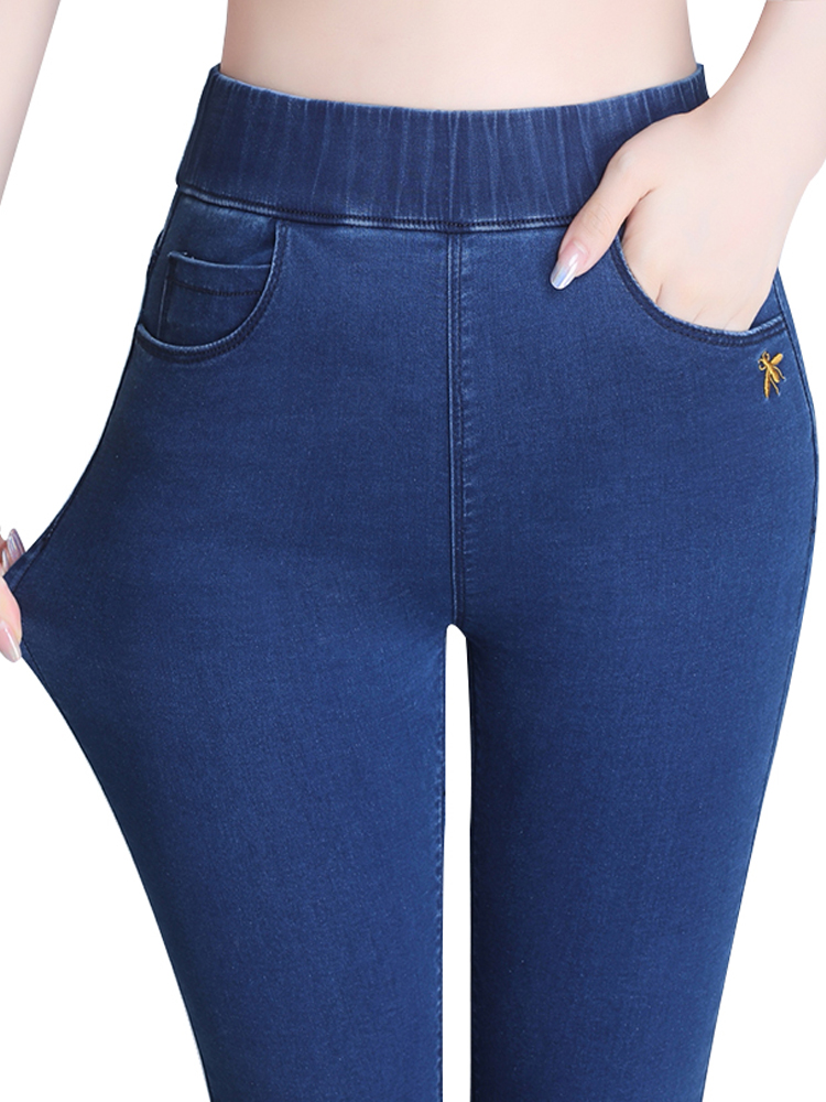 High-rise jeans women's thin high elastic waist tight feet elastic plus cashmere thick winter warm pants