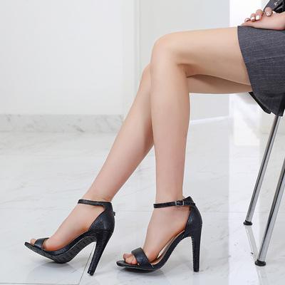 芭芭拉一字带扣凉鞋高跟鞋橡胶鞋垫防滑耐磨细跟网红夏季百搭仙女