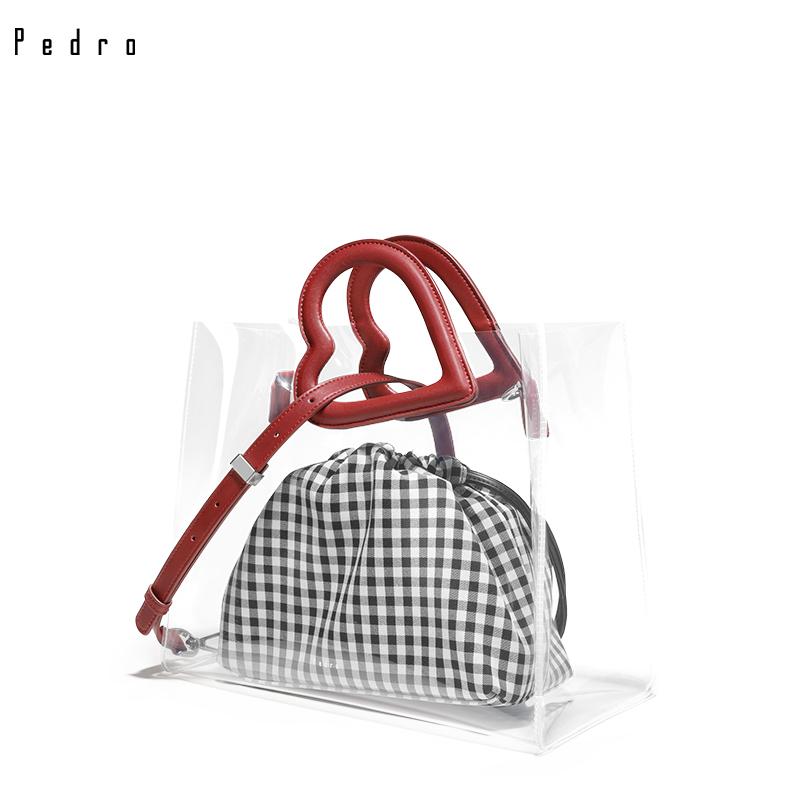 PEDRO手提包PW2-45210011女士心形透明子母托特包