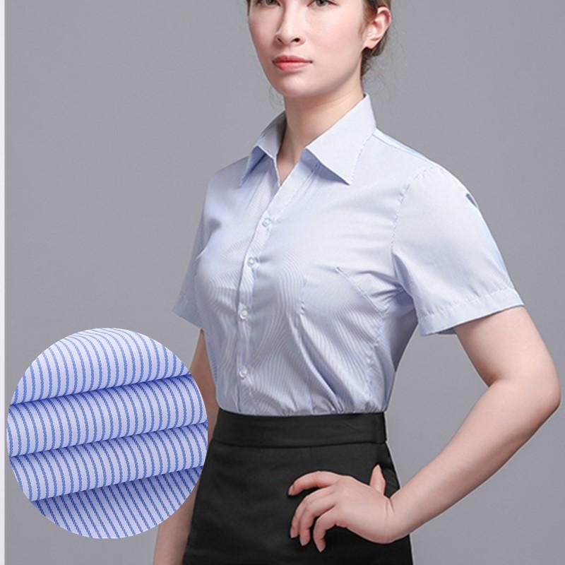 Mùa hè, áo sơ mi nữ tay ngắn màu trắng sọc xanh nhạt mỏng và không có chất liệu sắt chuyên nghiệp mặc cổ chữ V - Áo sơ mi dài tay