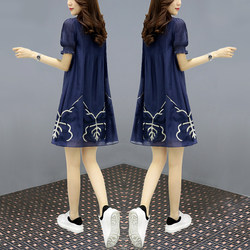 2021 spring and summer new loose and thin a-line doll skirt short cover belly French retro dress female trend