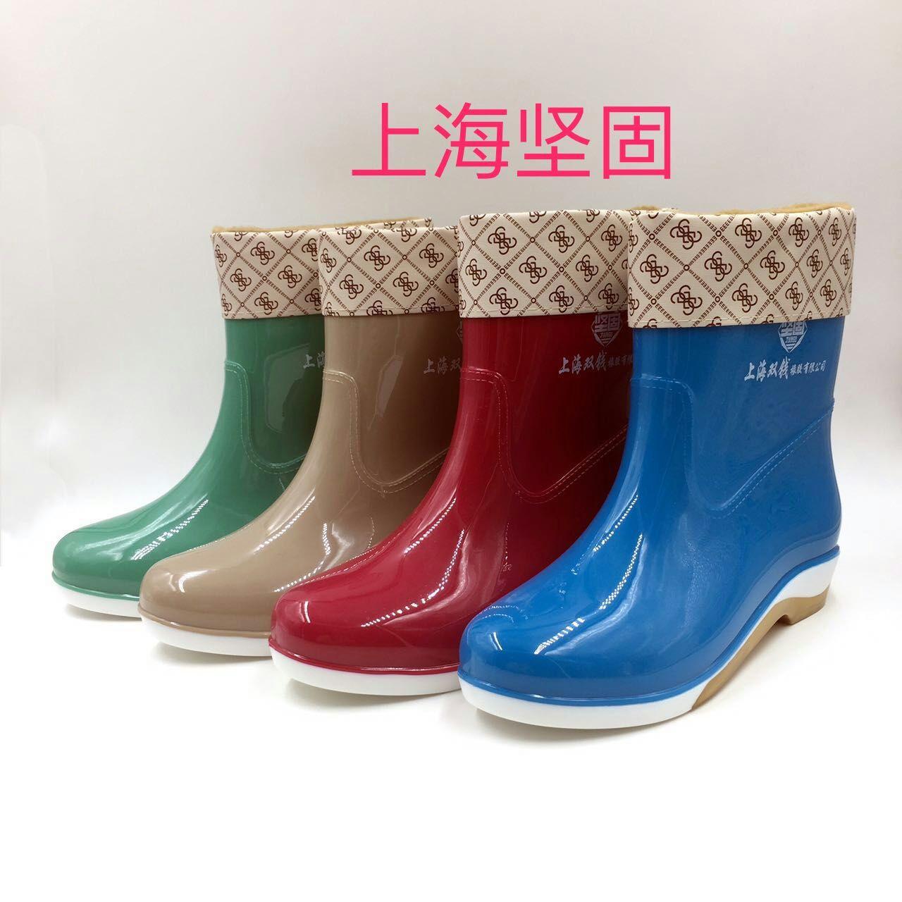 Nhà máy trực tiếp bán hàng chính hãng Thượng Hải mạnh mẽ nữ ba màu ngắn ống sọc mưa ủng đi mưa chống trượt chống trượt ấm - Rainshoes