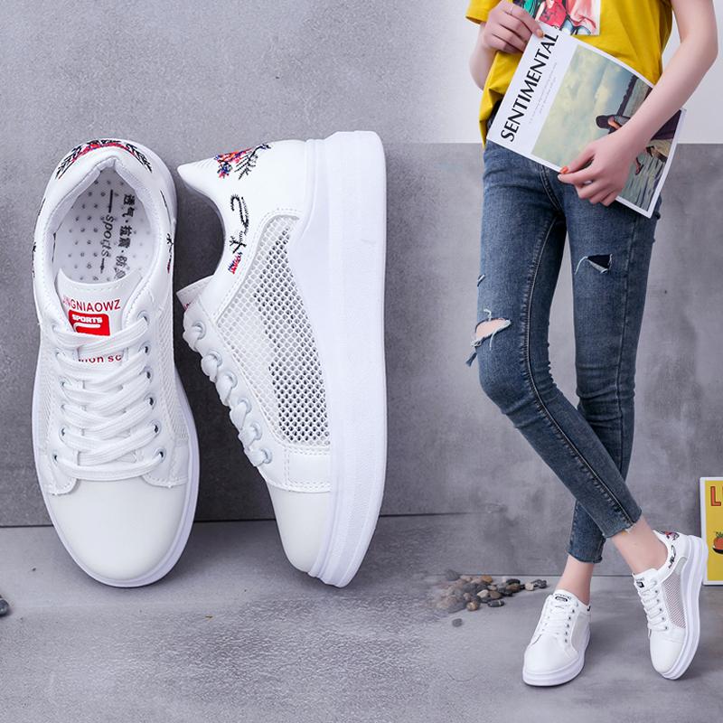 韩版女鞋夏款2019新款网红透气网面百搭学生鞋平底轻便小白鞋子女