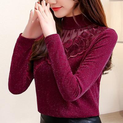 高领保暖内衣女加绒加厚冬季时尚外穿紧身百搭蕾丝上衣网纱打底衫