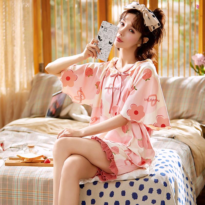 睡衣女夏季两件套装大码短袖纯棉睡裙2021年新款薄家居服女士春天
