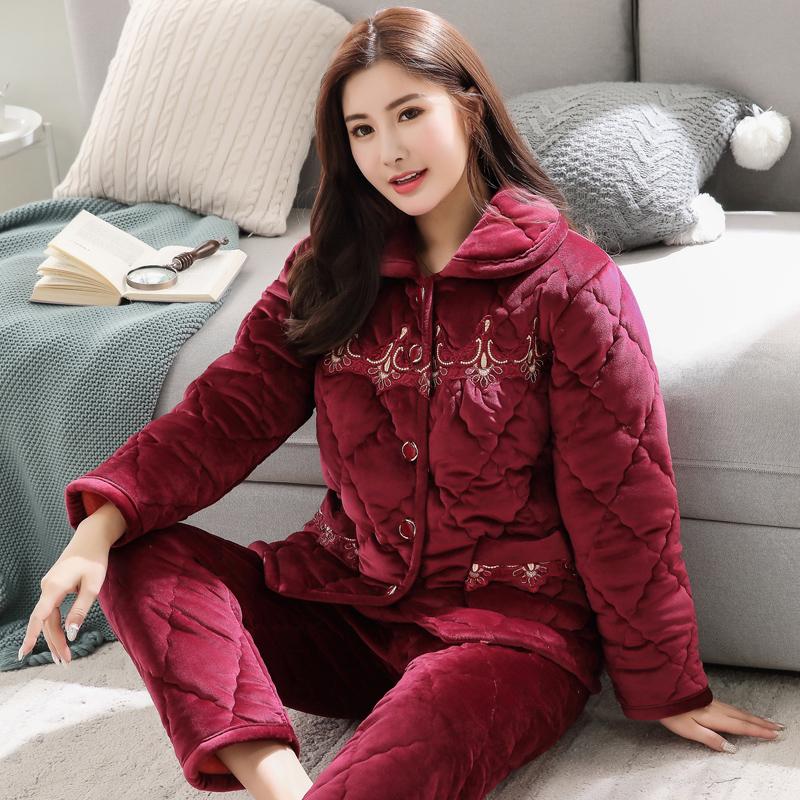 睡衣女冬季加厚加绒珊瑚绒夹棉中老年法兰绒妈妈家居服套装秋冬款
