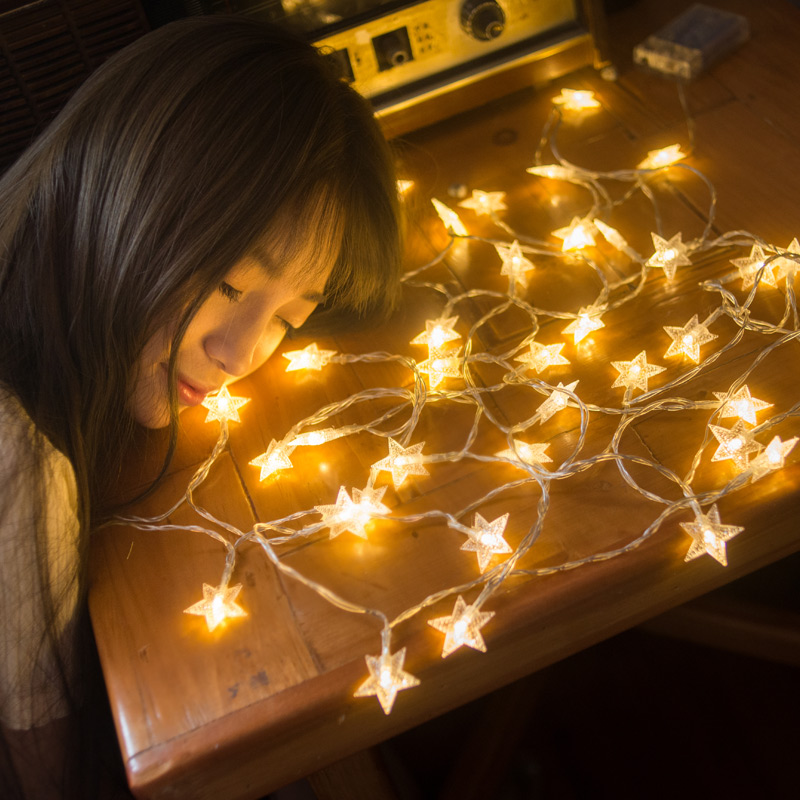 LED Stars Small Lights Flashing Lights String Lights Bedroom Stars Hostel  Girl Heart Network Red Light ...