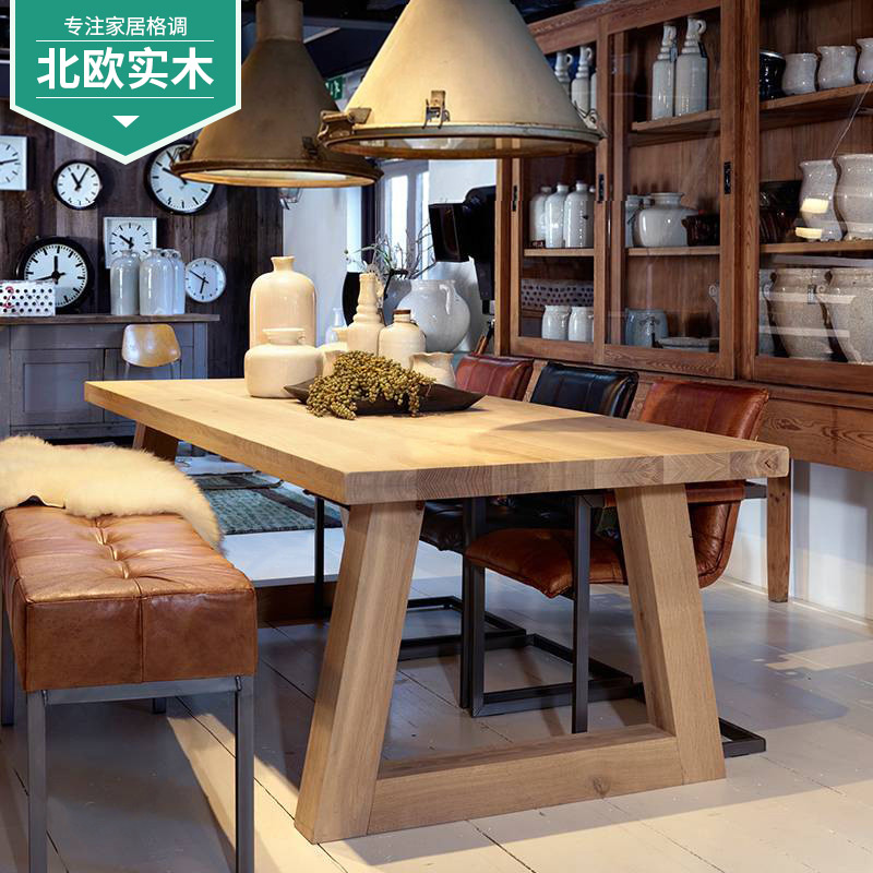 USD Nordic Solid Wood Dinette Combination Rectangular Dining - Solid wood dinette table
