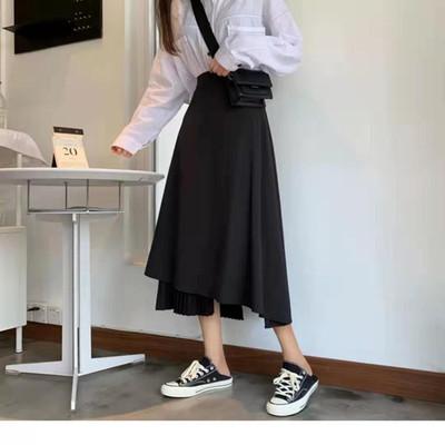 赫本小黑裙百褶拼接显瘦适合胯大腿粗的过膝长裙不规则半身裙中长