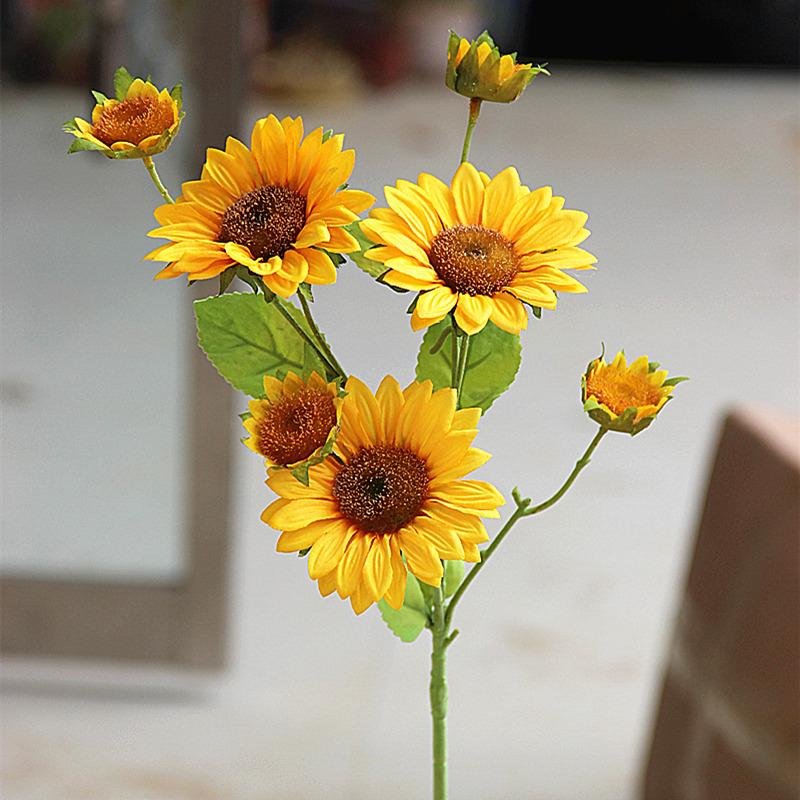 高批发向日葵太阳花假花摆设绢花花商场客厅落地居家装饰花仿真