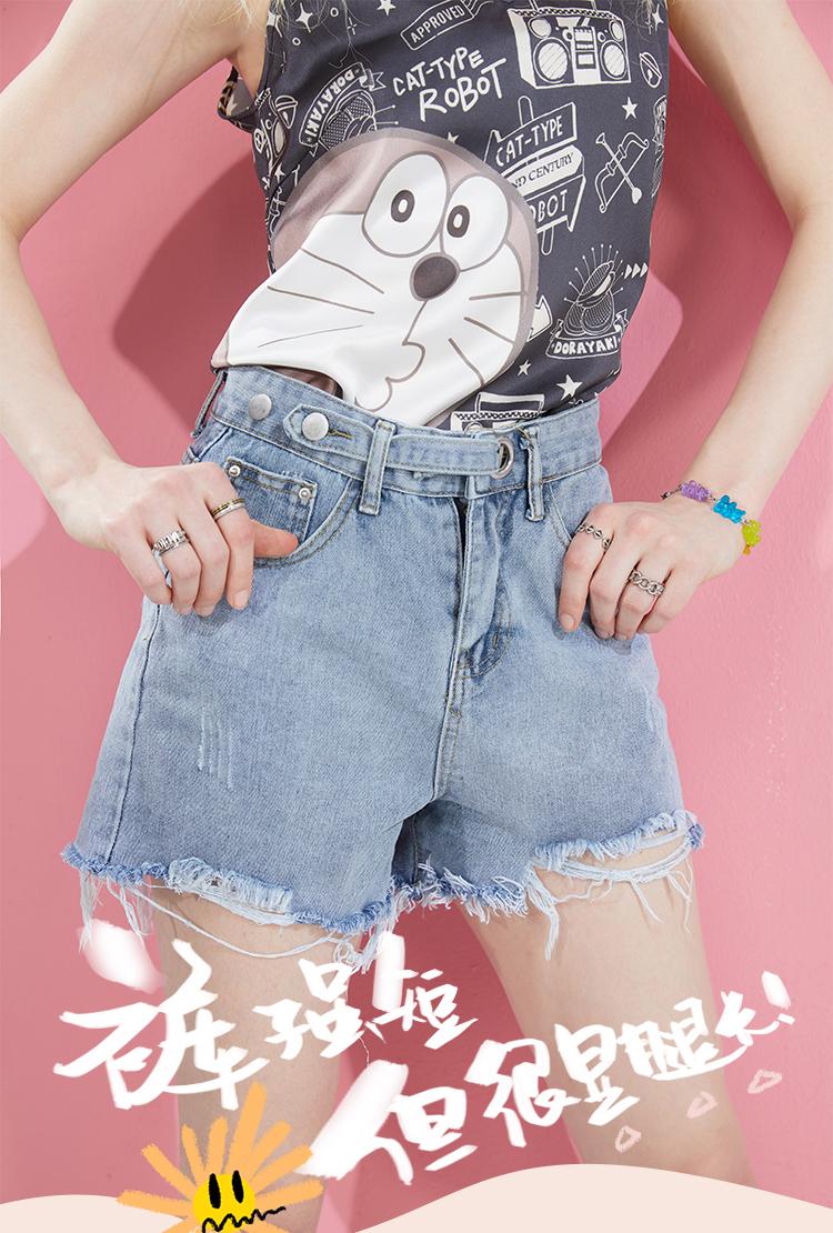 高腰显腿长,穿出完美九头身:妖精的口袋 破洞浅色牛仔短裤 69.8元包邮 买手党-买手聚集的地方