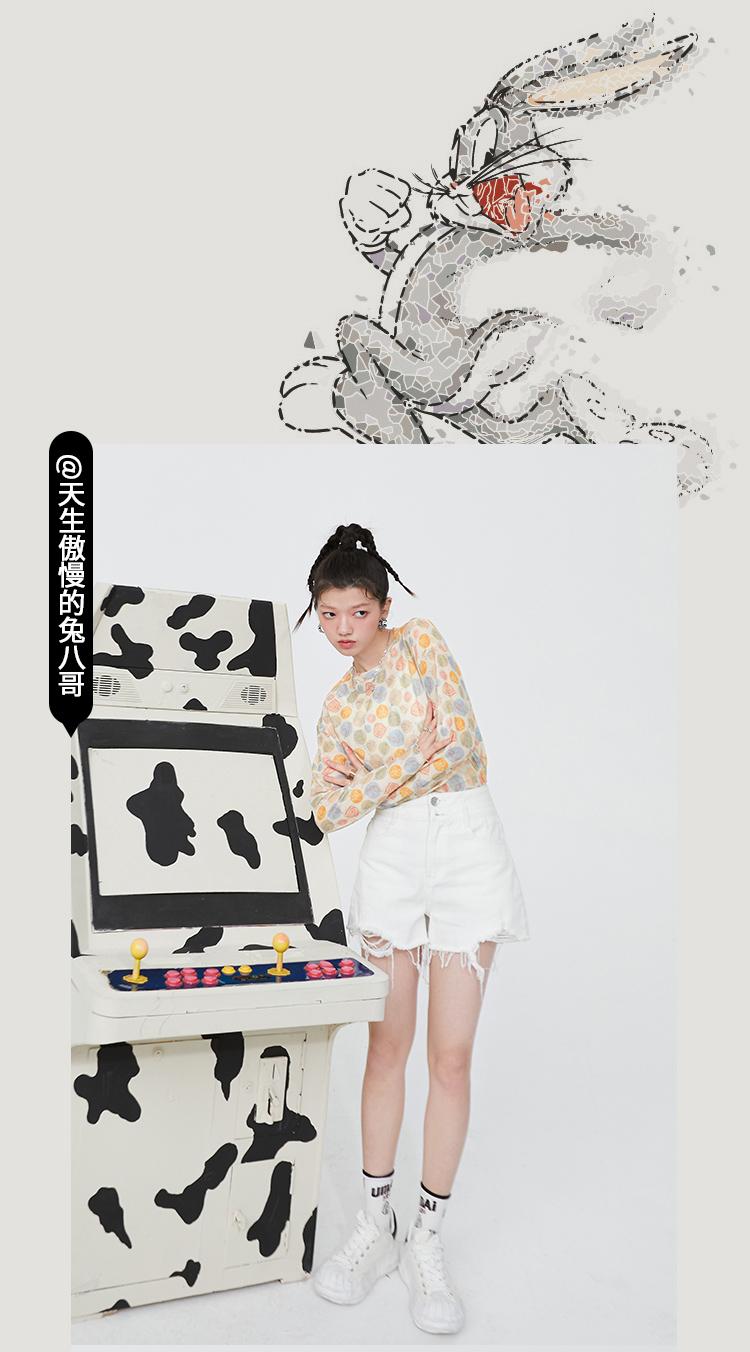 【15色IP联名】妖精的口袋薄款皮肤衣女2021夏网纱打底衫长袖t恤(【拍3件!】印花高弹皮肤衣共3件)