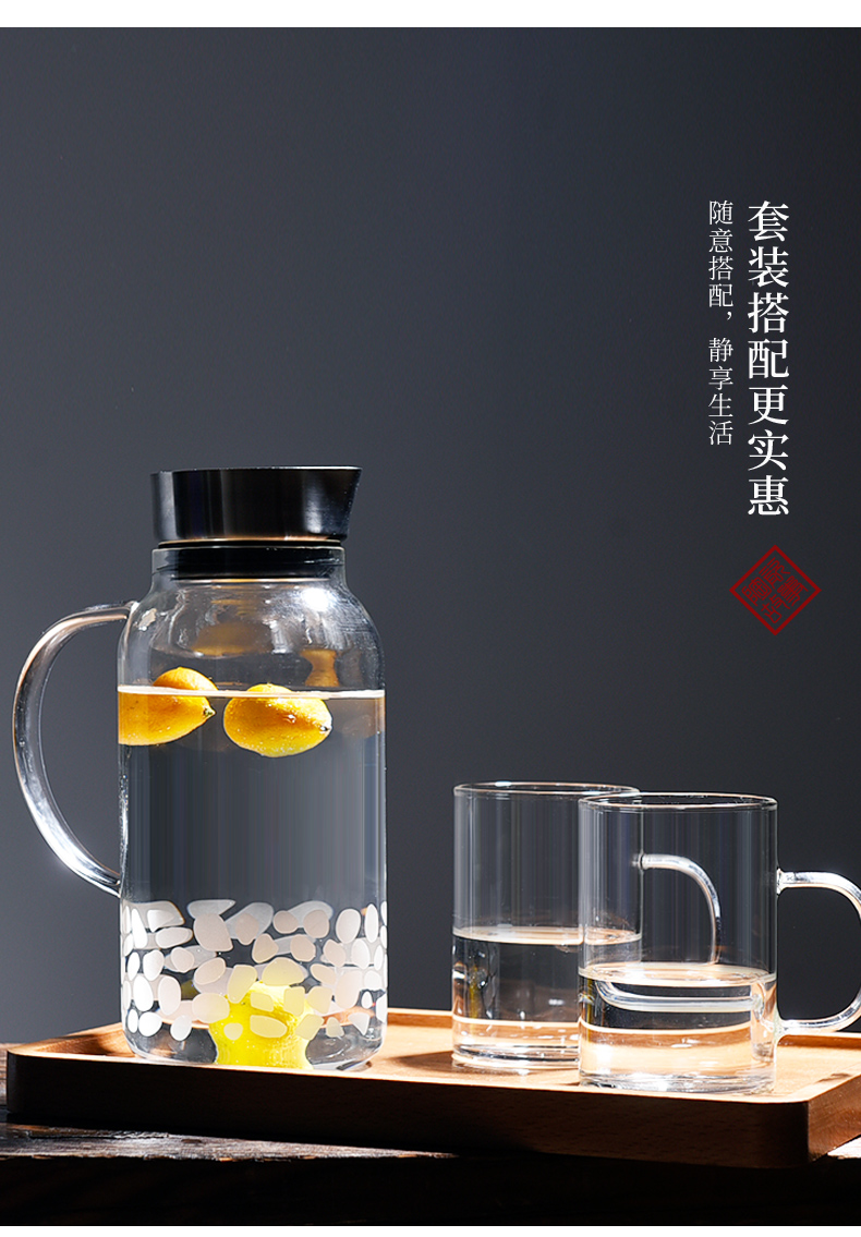 Cold water bottle glass ceramic story high temperature resistant household cool bottle Nordic creative Cold boiled water kettle cup suit