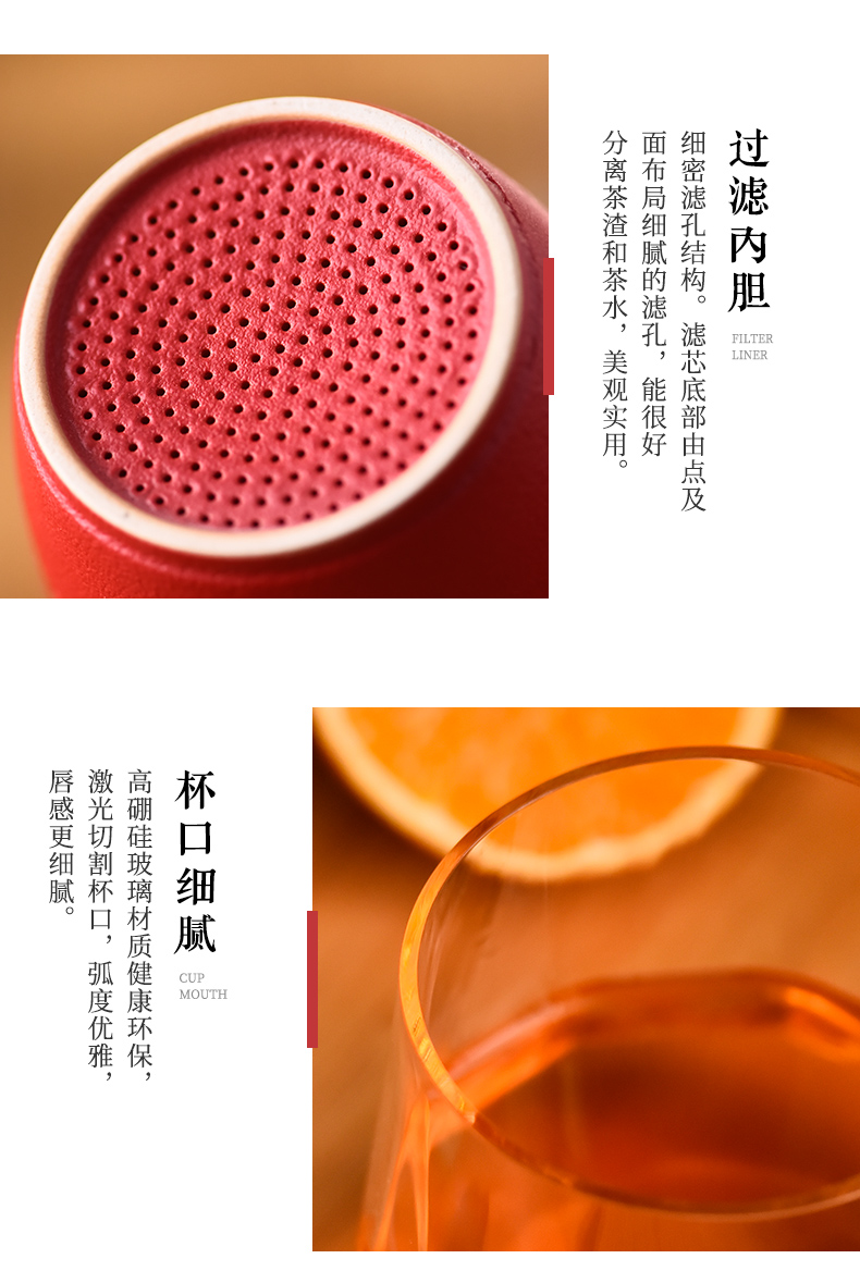 Ceramic story glass tea cup for cup men 's large capacity separation office tea cup