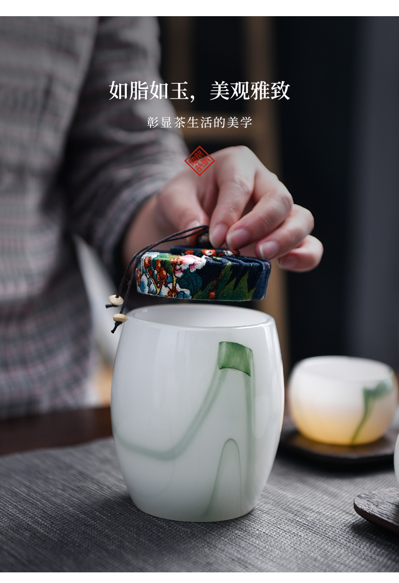 Members of the caddy fixings ceramic seal pot home pu - erh tea set suit white porcelain suet jade small POTS