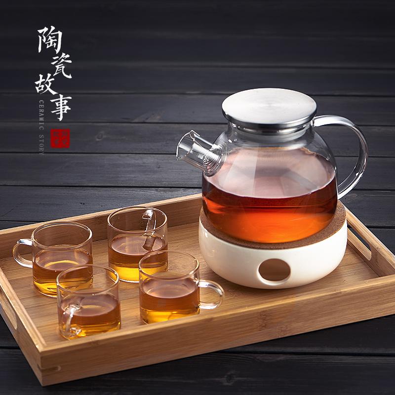 Стекло повар ароматный чай горшок чашка пузырь повар днем чай фрукты чайник чайный сервиз домой свеча отопление база