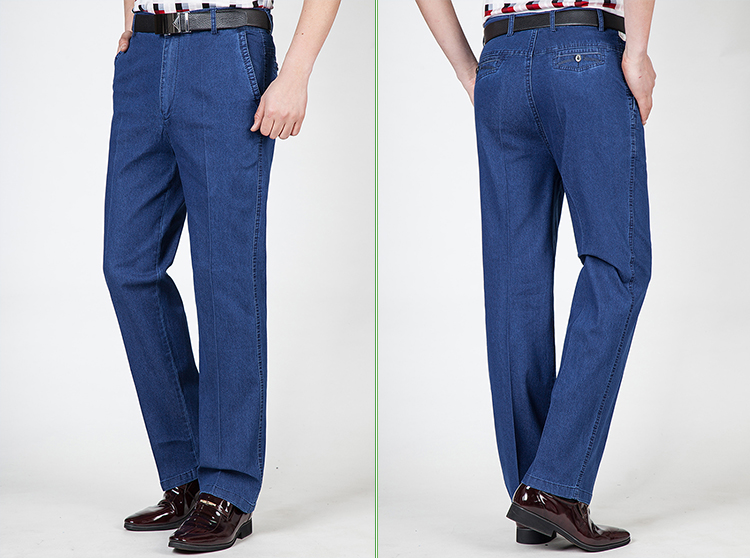 Mùa hè phần mỏng trung và cũ tuổi người đàn ông giản dị của stretch jeans nam quần cao eo lỏng thẳng kích thước lớn quần nam