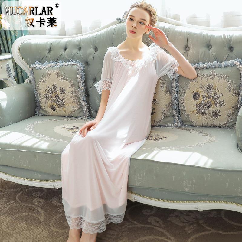 莫代尔睡裙女春夏短袖长裙甜美公主家居服网纱宽松大码长款睡衣秋