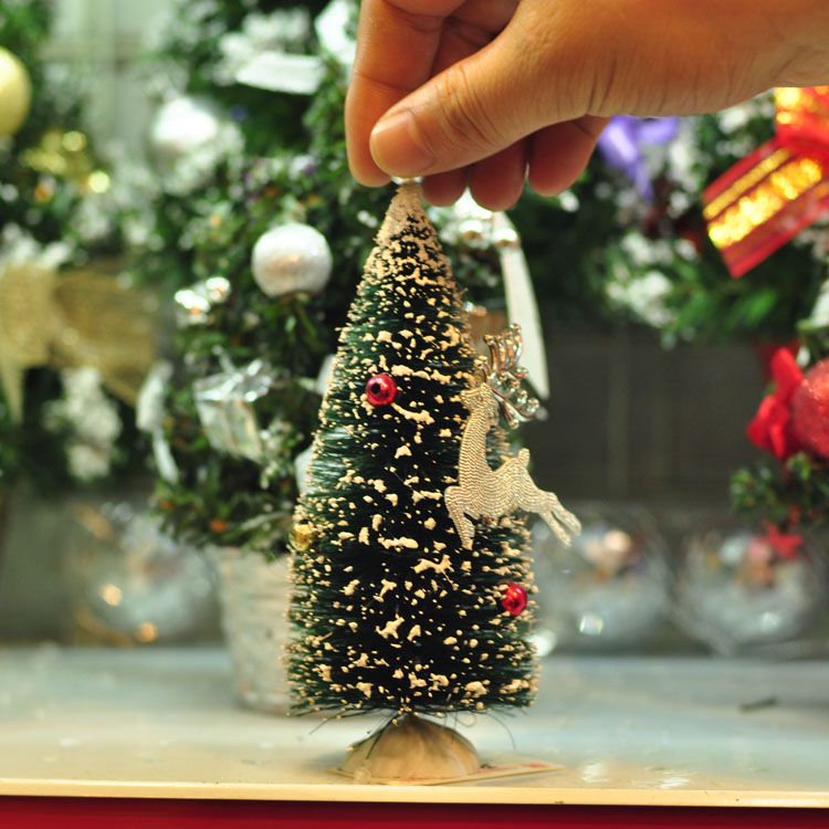 christmas decorations mini deer christmas tree cute cedar desktop home window decoration gift tree 15cm