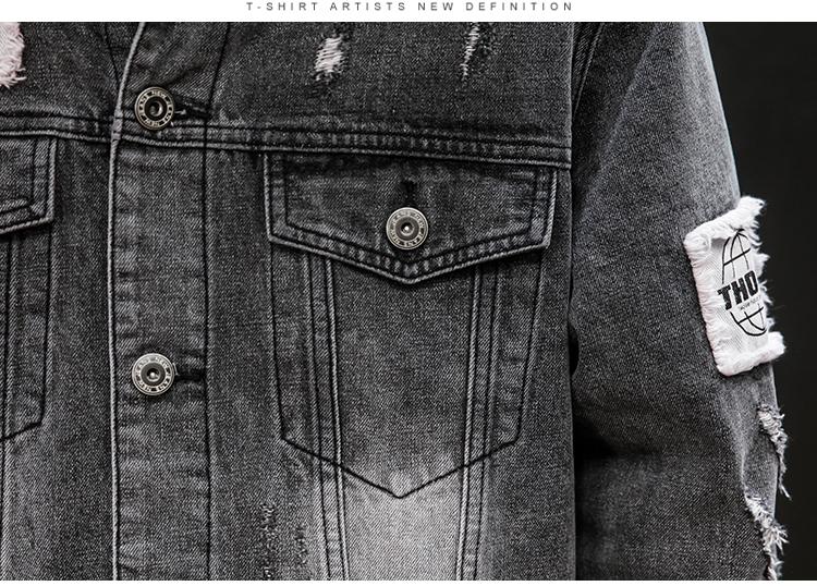 图注册黑墙新牛仔外套青少年大码牛仔夹克贴布潮流上衣p105#6832