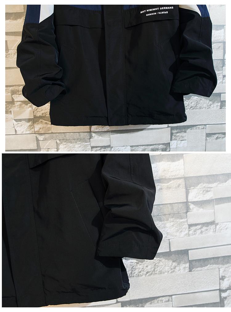 白墙新款大码胖子拼接爆款夹克印花外套男装P90#2091