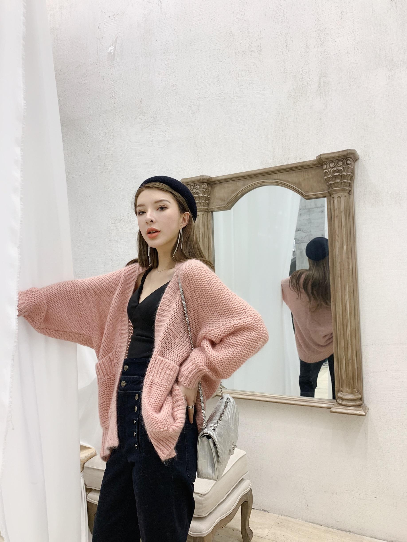 RITA梓傲 2019春季新款慵懒风马海毛毛衣外套开衫女宽松韩版