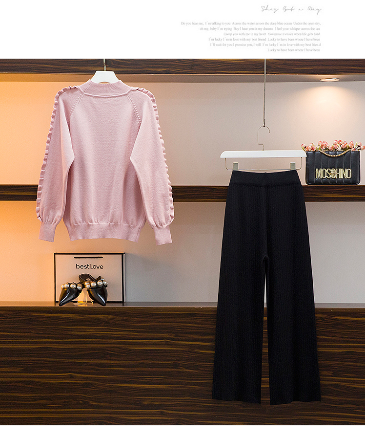 Broad-legged pants set 2020 autumn/winter new female lazy wind sweater casual pants two-piece set of foreign air-reducing pants 54 Online shopping Bangladesh