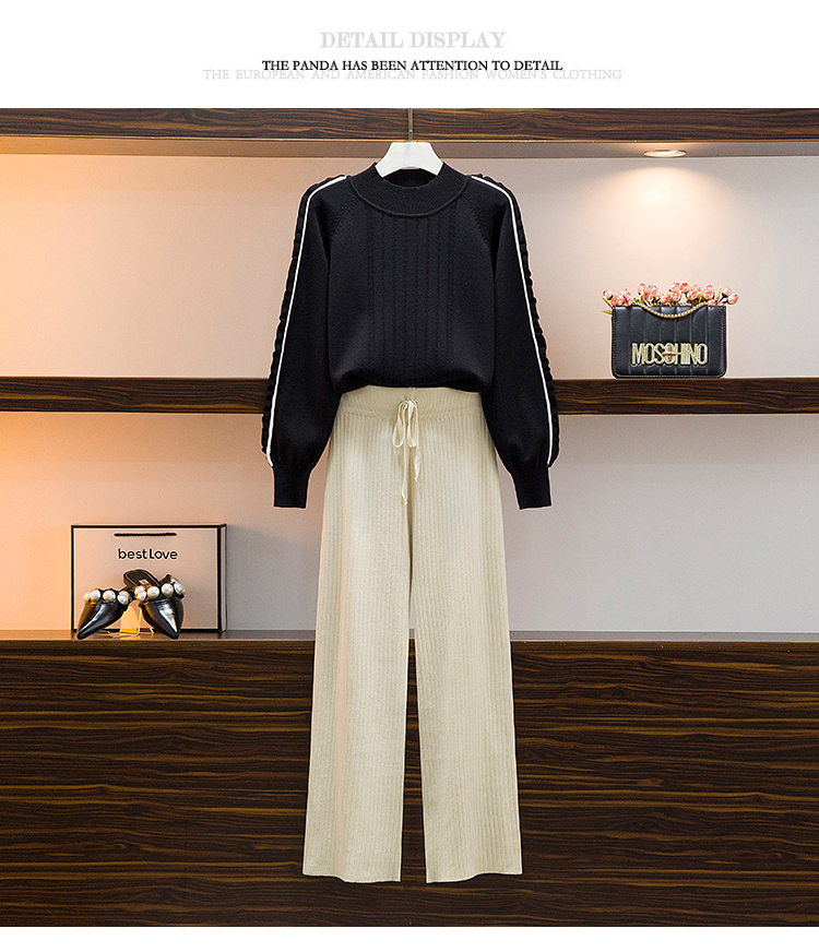 Broad-legged pants set 2020 autumn/winter new female lazy wind sweater casual pants two-piece set of foreign air-reducing pants 52 Online shopping Bangladesh
