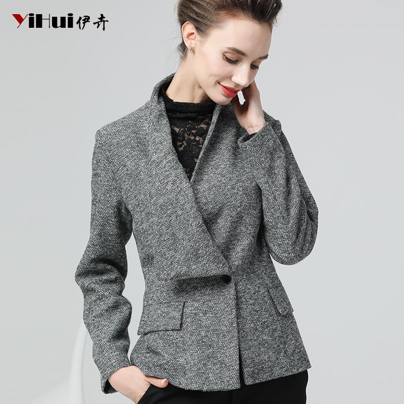 秋冬装新款灰色小外套短款呢子大码显瘦大衣女装收腰修身显瘦毛呢