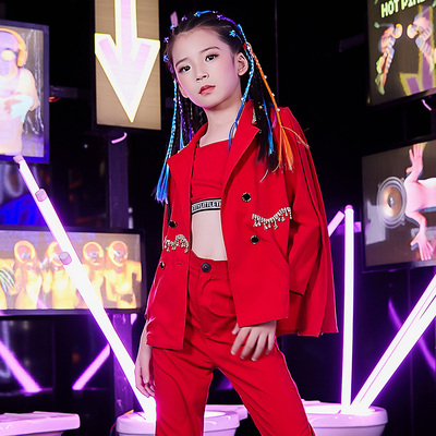 Hip Hop Dance Costumes for girls Jazz Dance Dress Children Jazz Dance Suit Girls clothing show children personality children model fashion model show fashion clothes