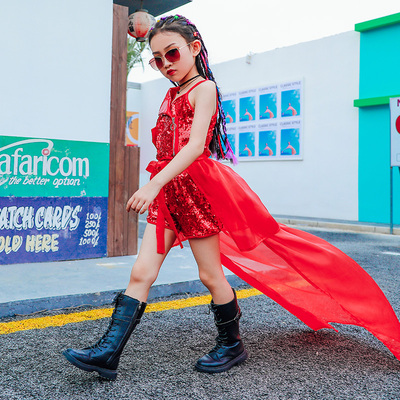 Hip Hop Dance Costumes for girls Jazz Dance Dress Children jazz dance dress girl street dance suit T-stage fashion fashion personality performance dress cool