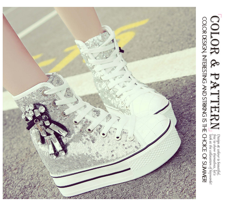 YD-EVER women Casual Shoes platform wedge shoes height increasing super high heel bling diamond crystal sneakers fashion boots 20