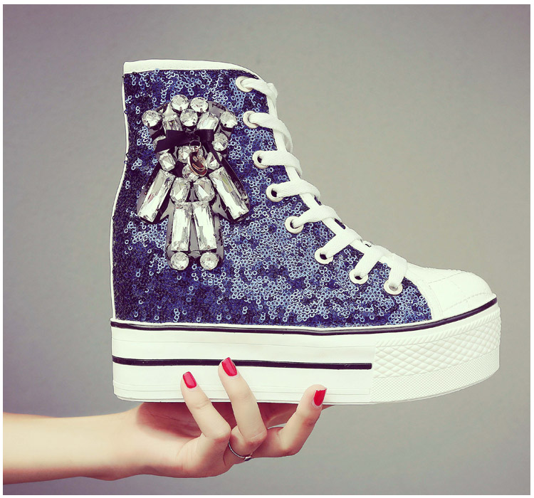 YD-EVER women Casual Shoes platform wedge shoes height increasing super high heel bling diamond crystal sneakers fashion boots 8